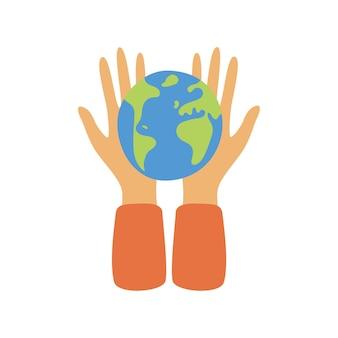 Trzymając się za ręce glob ziemi. ochrona środowiska, ekologia, koncepcja razem ratowania planety.