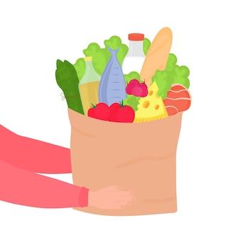 Trzymając się za ręce papierową torbę artykułów spożywczych.