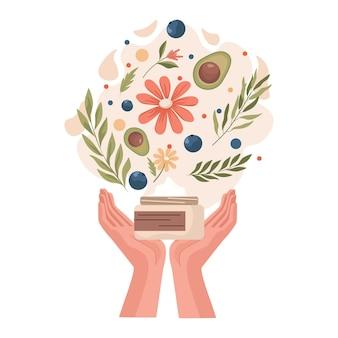 Trzymając się za ręce słoik z naturalnym organicznym kremem