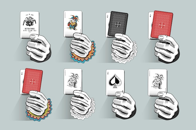 Trzymając zestaw ilustracji do kart do gry