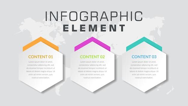 Trzypunktowy abstrakcjonistyczny infographic elementu proces biznesowy