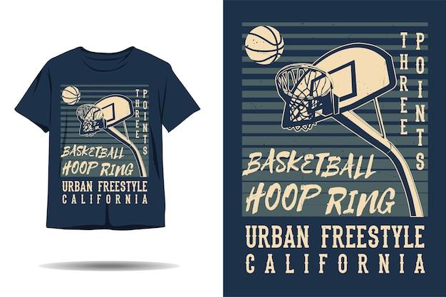 Trzypunktowy pierścień do kosza do koszykówki miejski freestyle w kalifornii sylwetka projekt koszulki
