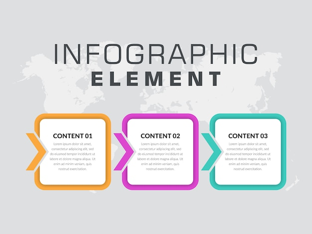 Trzypunktowy prosty proces biznesowy elementu infographic