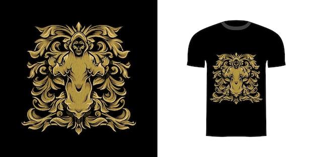 Tshirt design demon czaszka z grawerowanym ornamentem