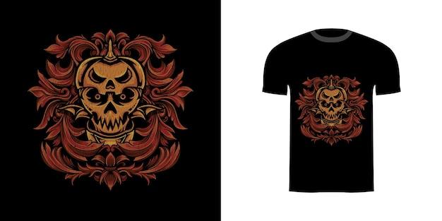 Tshirt design ilustracja czaszka dynia z grawerowanym ornamentem
