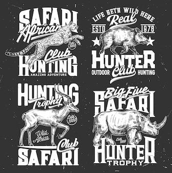 Tshirt drukuje emblematy szkicu wektorowego polowania na safari ze zwierzętami nosorożca, lamparta, gazeli i dzika. maskotki dzikich zwierząt afrykańskich dla klubu myśliwskiego safari, stowarzyszenia myśliwych lub etykiet zespołu do projektowania odzieży app