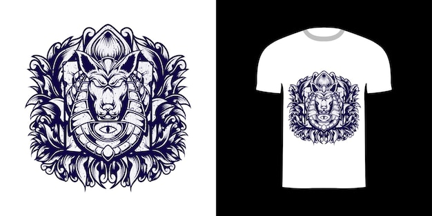 Tshirt projekt linii sztuki ilustracji anubis z grunge tekstury