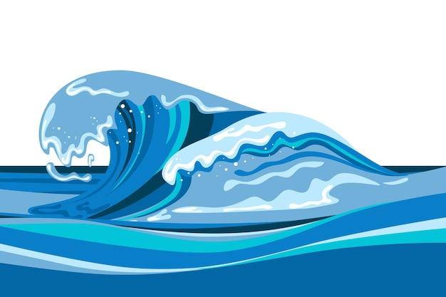 Tsumani fala tło w stylu płaskiej kreskówki. duży niebieski tropikalny plusk wody z białą pianką. ilustracja wektorowa