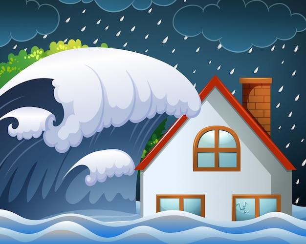 Tsunami uderzające w dom