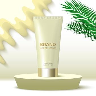 Tuba kremu na okrągłym podium platforma ekspozycyjna produktów kosmetycznych z liśćmi palmowymi 3d