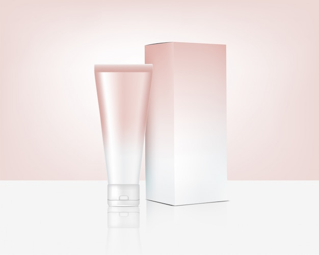 Tube mock up realistic rose gold cosmetic and box for skincare product