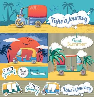 Tuk riksza tajlandia zestaw banner