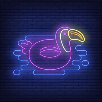 Tukan gumowy pierścień neon znak