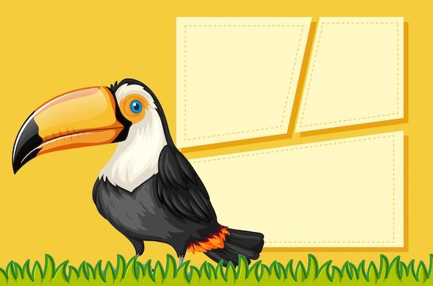 Tukan na pustym szablonie