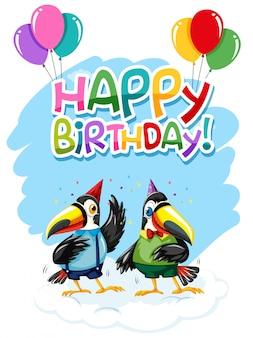 Tukan na szablonie urodzinowym