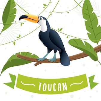 Tukan siedzi na gałęzi drzewa. płaski wektor ładny tukan, fauna ameryki południowej. dzikie zwierzę ilustracja, pojęcie natury, ilustrowanie książki dla dzieci. ilustracja lato