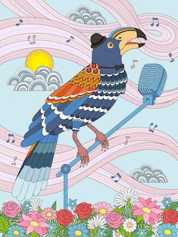 Tukan stojący na mikrofonie i śpiewający