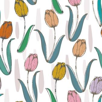 Tulipanowy kwiat w pastelowego koloru bezszwowym wzorze na bielu
