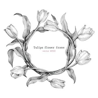 Tulipany rama rysunek ręka vintage
