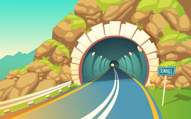 Tunel, autostrada. szary asfalt z oznakowaniem drogowym