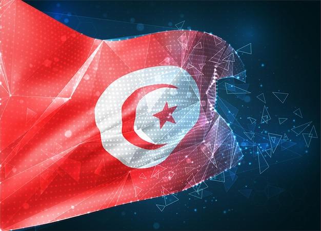 Tunezja, flaga wektorowa, wirtualny abstrakcyjny obiekt 3d z trójkątnych wielokątów na niebieskim tle