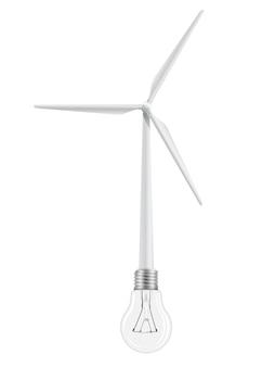 Turbina wiatrowa i żarówka połączone.