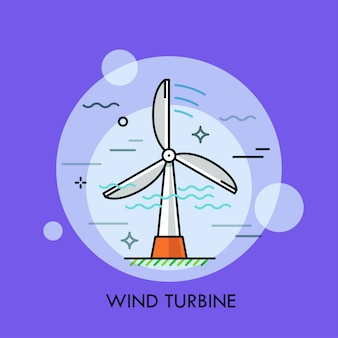Turbina wiatrowa. pojęcie wytwarzania energii elektrycznej lub energii elektrycznej