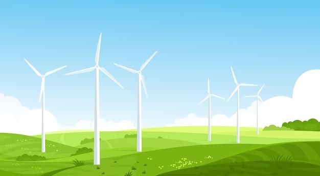 Turbiny wiatrowe na płaskiej łące konwerter energii wiatrowej zasoby odnawialne