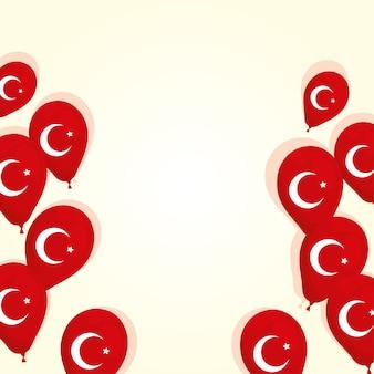 Turcja flagi kraju w projektowaniu ilustracji wektorowych balonów helu