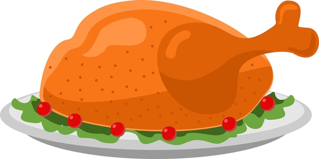 Turcja płaski ikona ilustracja święto dziękczynienia na danie pieczony indyk