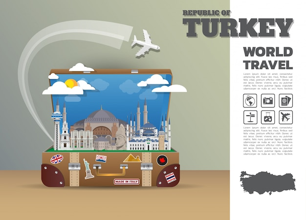 Turcja punkt orientacyjny globalna podróż i podróż bagaż infographic. szablon projektu / ilustracja.