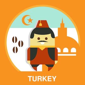 Turecki mężczyzna w krajowej kostiumowej ilustraci
