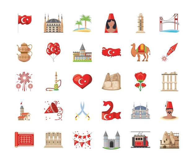 Turecki szczegółowy styl 30 zestaw ikon, podróż kultury turcji i temat azji ilustracji wektorowych