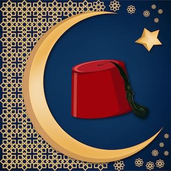 Turecki tradycyjny czerwony kapelusz fez lub tarboosh