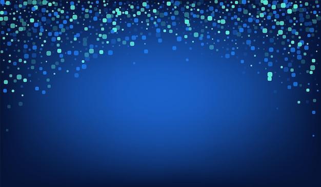 Turkusowe konfetti pływające niebieskie tło wektor. tło plac karnawałowy. świętuj wzór rombowy. niebieskie zaproszenie.