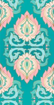 Turkusowy elegancki ornament do tekstyliów.