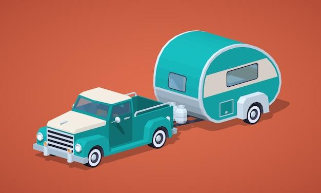 Turkusowy retro 3d izometryczny pickup z domu silnikowego