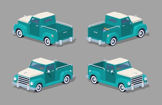 Turkusowy retro 3d izometryczny pickup