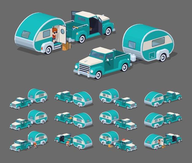 Turkusowy retro pickup z przyczepą kempingową rv. ilustracja wektorowa izometryczny 3d lowpoly.