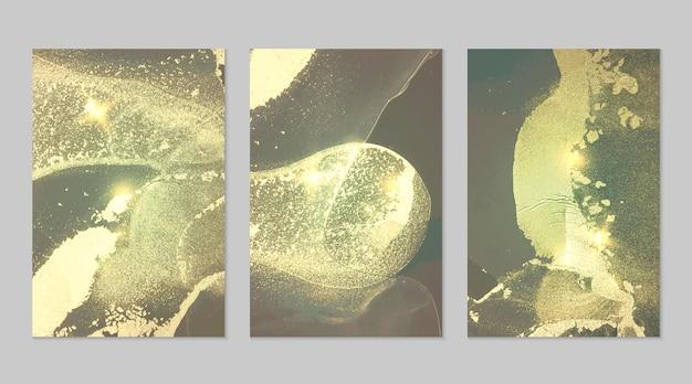 Turkusowy szary i złoty wzór z teksturą geody i błyszczy abstrakcyjne tło w technice atramentu alkoholowego nowoczesna farba z brokatem zestaw teł dla projektu plakatu transparent