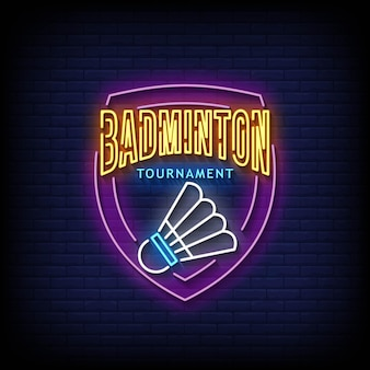 Turniej badmintona neonowe znaki w stylu tekstu wektor