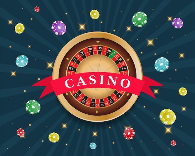 Turniej kasynowy, ruletka, baner kart i żetonów. ilustracja wektorowa na niebieskim tle.
