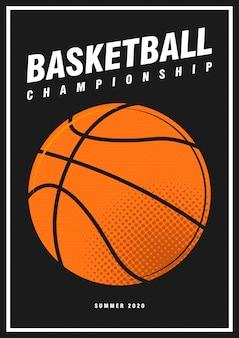 Turniej koszykówki sport plakat projekt transparent pop-art styl piłka na białym tle na czarno