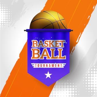 Turniej koszykówki z pomarańczowym i białym tłem