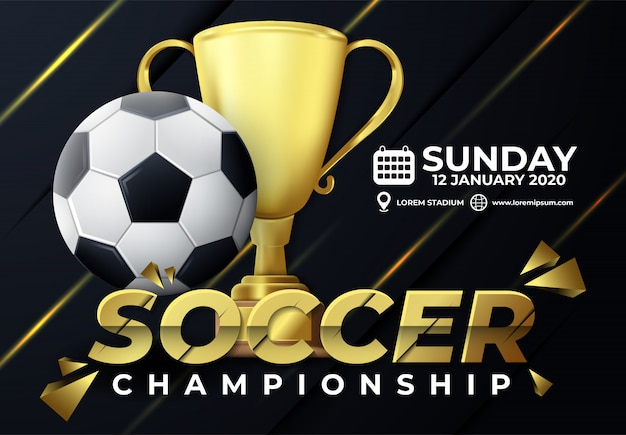 Turniej piłkarski 2020 z trofeum i elementem piłki nożnej