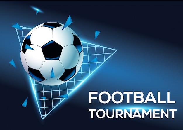 Turniej piłkarski z niebieskim tłem szablonu