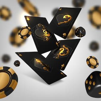 Turniej pokerowy. cztery karty do gry z żetonami do gry.