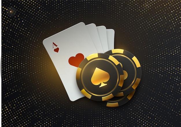 Turniej pokerowy. ilustracja. cztery karty do gry z żetonami do gry na czarnym tle z połyskującymi błyskami