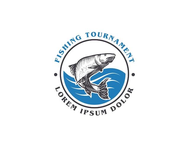 Turniej wędkarski zaokrąglony szablon projektu logo