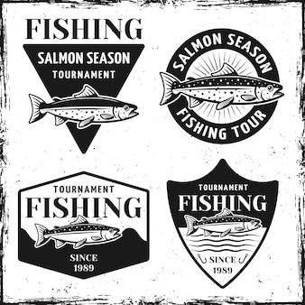 Turniej wędkarski zestaw czterech emblematów, etykiet, odznak lub logo w stylu vintage